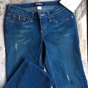 Distressed Denim Global boot cut jeans